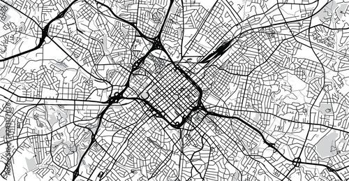 Urban Vector City Map Of Charlotte North Carolina United States Of - Us-map-charlotte-nc