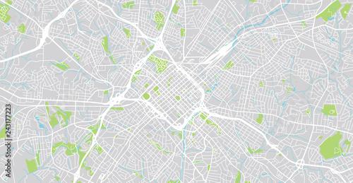 Urban vector city map of Charlotte, North Carolina, United States of on