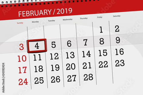 Calendar planner for the month february 2019, deadline day, 4, monday