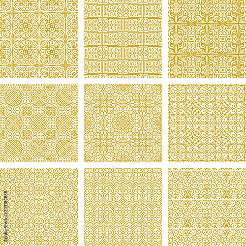 Vector collection of seamless oriental gold ornaments on white background