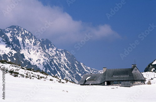 """Tatry mountains, Poland - February, 2011: shelter in Valley of Five Ponds """"Dolina Pieciu Stawow Polskich"""""""