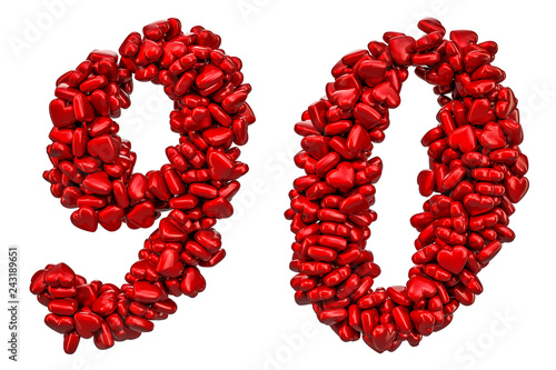9, 0 numbers from red hearts, 3D rendering