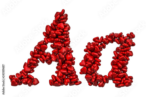 Cursive letter A from red hearts, capital and small letters. 3D rendering