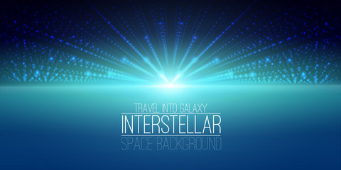 Vector interstellar space background.Cosmic galaxy illustration.Background with nebula, stardust and bright shining stars.Vector Illustration for party ,artwork, brochures, posters.