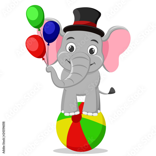 Circus elephant in a hat stands on a ball and holds balloons on a white.