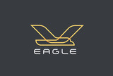 Flying Eagle Bird Logo Airlines design vector. Geometric icon - 243200288