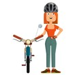 Young women cyclist.