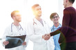 Leinwandbild Motiv patient shaking hands with doctor.
