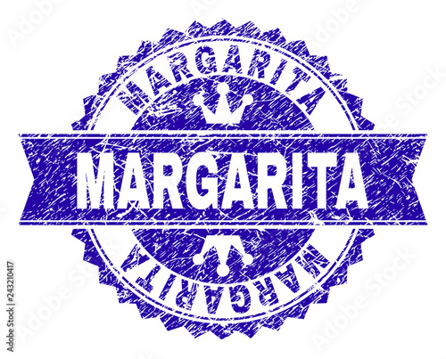 MARGARITA rosette stamp watermark with grunge style. Designed with round rosette, ribbon and small crowns. Blue vector rubber watermark of MARGARITA title with grunge texture.