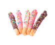 colorful chocolate in bread stick isolated on white background
