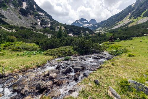 Poster Summer landscape of Malyovitsa peak and Malyoviska river, Rila Mountain, Bulgaria