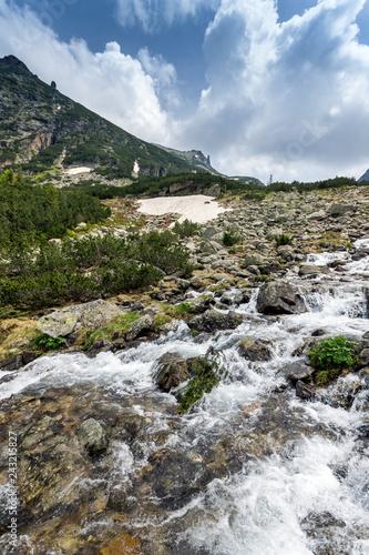 Leinwanddruck Bild Summer landscape of Malyovitsa peak and Malyoviska river, Rila Mountain, Bulgaria