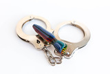 Concept of illegal pot smoking with handcuffs - 243225434