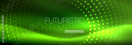 Green neon dotted circles background - 243228698