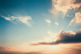Vintage landscape at sunset with cloud. nature background