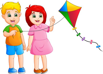 Cartoon kids playing kites © idesign2000