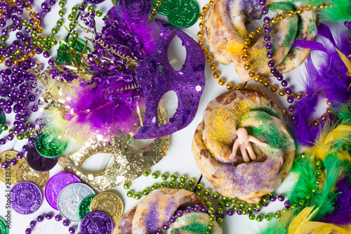 Mardi Gras King Cakes and Decoration