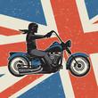 Vintage motorcycle on United Kingdom flag background