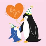 Penguin family love balloon party