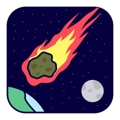 Natural cataclysm. Flaming meteorite. © artemp1