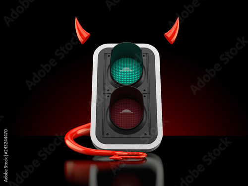 Green traffic light with devil horns and tail
