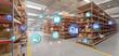 Leinwandbild Motiv Logistic organisation on a warehouse background 3d rendering