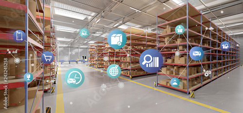Logistic organisation on a warehouse background 3d rendering - 243245258