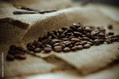 coffee beans on burlap sack
