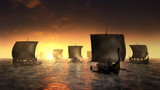 Vikings ships on the misty water. - 243250858