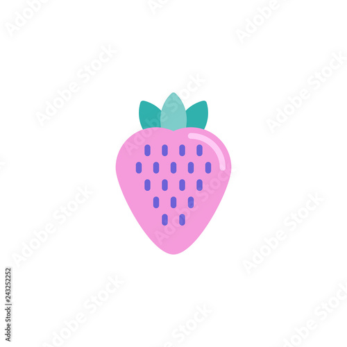Strawberry flat icon, vector sign, colorful pictogram isolated on white. Sweet berry strawberry symbol, logo illustration. Flat style design