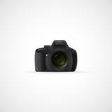 Vector realistic SLR camera. - 243252862