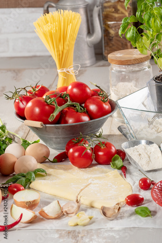 Poster ingredients for preparation of the delicious pizza