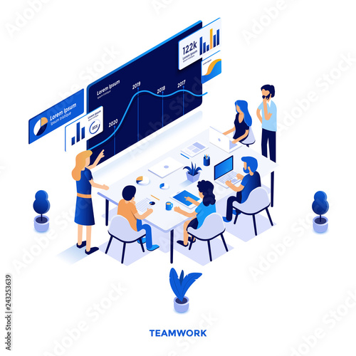 Poster Flat color Modern Isometric Illustration design - Teamwork