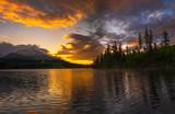 spectacular sunrise on the mountain lake Strbske Pleso in Slovakia