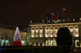 The Warsaw Presidential Palace in the evening time, on New Year's holidays