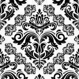 Classic seamless vector pattern. Damask orient ornament. Classic vintage black and white background. Orient ornament for fabric, wallpaper and packaging - 243257680