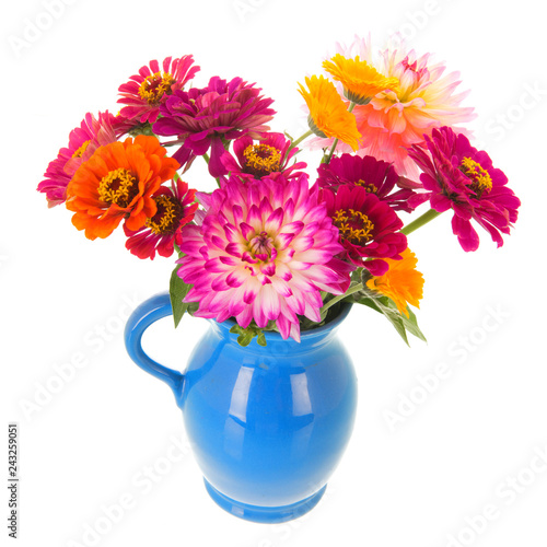 Vase Zinnias and Dahlias from the garden