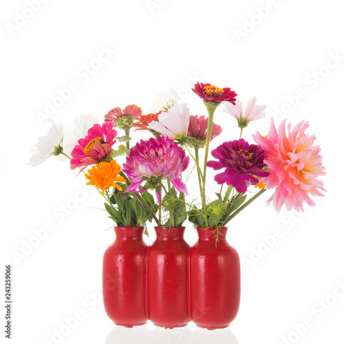 Red vase with Dahlias and Zinnias