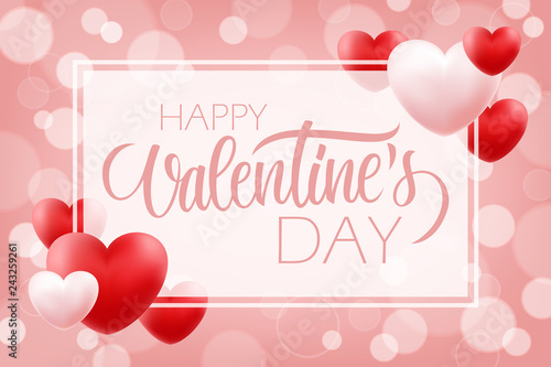 Valentines Day romantic background with hand lettering Happy Valentine's Day and red, pink hearts. 14 february holiday greetings. Vector Illustration.