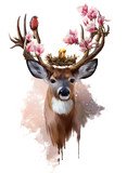 Deer, red-breasted bird and flowers - 243260074