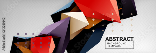 Bright colorful triangular poly 3d composition, abstract geometric background, minimal design, polygonal futuristic poster template - 243260640