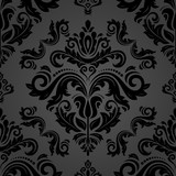Orient vector classic pattern. Seamless abstract background with vintage black elements. Orient background. Ornament for wallpaper and packaging - 243261876