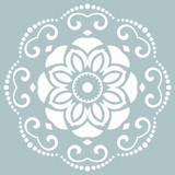 Oriental vector pattern with arabesques and floral white elements. Traditional classic ornament. Vintage pattern with arabesques - 243262091