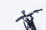 Action camera on a bicycle in a protective case in the winter on a snow. - 243262423