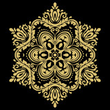Round vector snowflake. Abstract winter ornament. Golden snowflake - 243262436