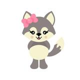 cartoon cute wolf girl vector - 243262834