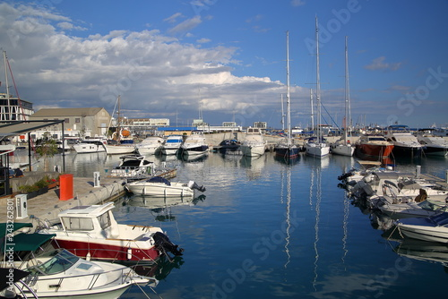 Boats and yachts in port, bay, Limassol, Cyprus