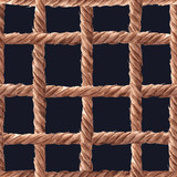 Watercolor rope fishing net pattern - 243263275