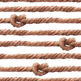 Watercolor rope fishing net pattern - 243263452