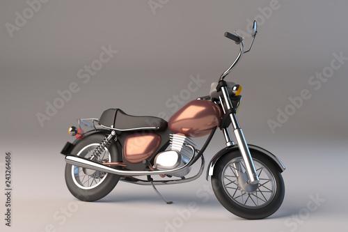 Petite moto custom sur bequille- 3D
